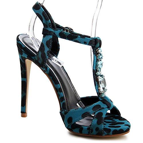 topschuhe24 566 Damen Sandaletten Glitzer Blau Animal