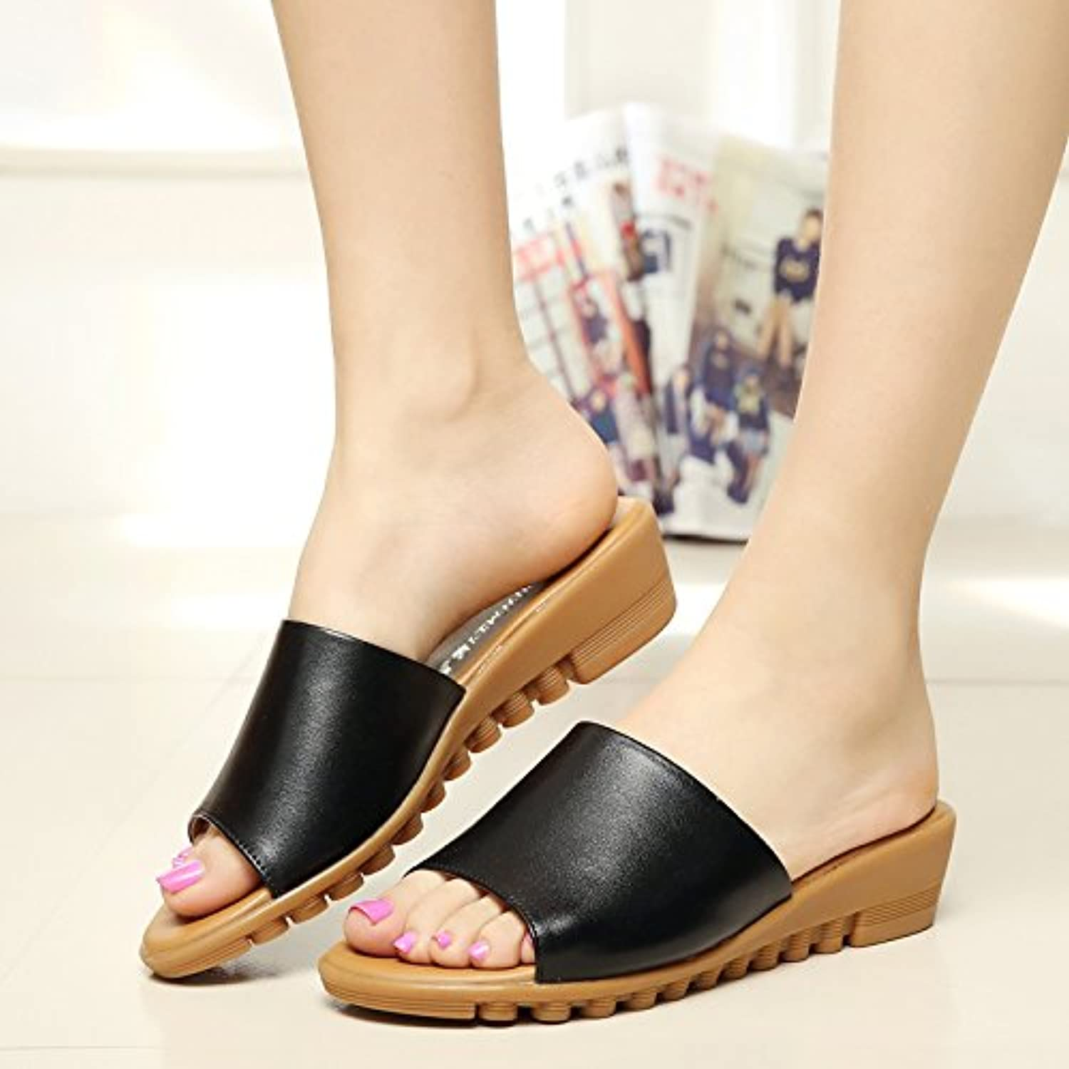 9fc7409c4be731 YMFIE Summer fashion comfortable leather flat sandals and slippers soft  bottom slip open toe beach shoes B07FJMXSZ4 Parent 6ce1bc