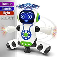 FunBlast Dancing Robot with Music, 3D Flashing Lights, Dancing Naughty Robot for Kids, Battery Operated,360 De