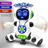 FunBlast Dancing Robot with Music, 3D Flashing Lights, Dancing Naughty Robot for Kids, Battery Operated,360 Degree Rotation Light (Multi Color)