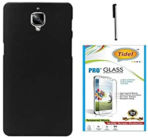 Tidel Ultra Thin and Stylish Rubberized Back Cover for One Plus 3 ( Black ) With Tidel 2.5D Curved Tempered Glass & Stylus