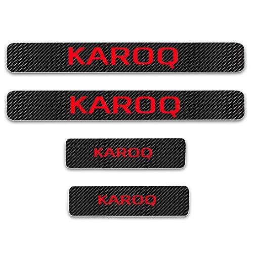 Preisvergleich Produktbild Für Karoq 4D M Auto-Pedalabdeckungen,  Türschwelleneinstiegsschutz,  Kratzschutz,  Karbonfaser-Aufkleber,  schützt Trittplatten,  Performance Styling,  Rot,  4 Stück