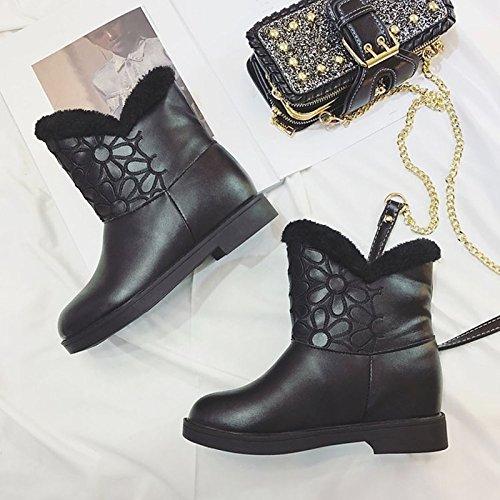 HSXZ Scarpe donna pu moda inverno Stivali Stivali tacco piatto rotondo Mid-Calf Toe stivali per Nero Casual Black