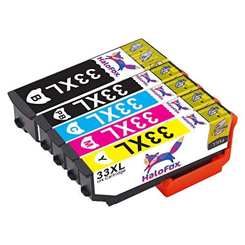 Preisvergleich Produktbild HaloFox 5 Kompatibel Tintenpatronen 33XL (T3351 T3361 T3362 T3363 T3364) Ersetzen für Epson Expression Premium XP-530 XP-540 XP-630 XP-630 Series XP-635 XP-640 XP-640 Series XP-645 XP-830 XP-900 Drucker (BK/PB/C/Y/M)
