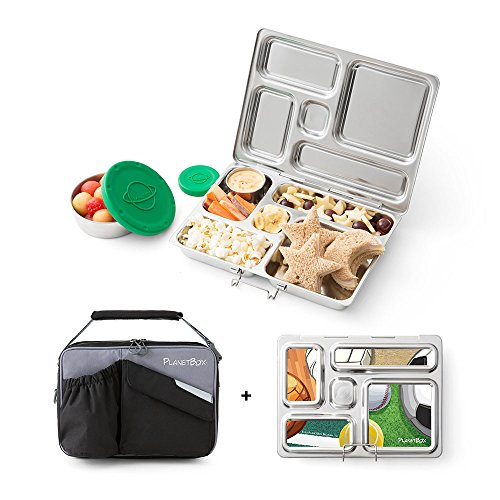 PlanetBox Rover Lunchbox, Black Carry Bag with Sports Balls Magnets by PlanetBox