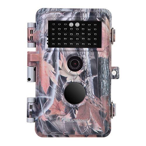 [Neue Version] BlazeVideo 16MP 1080P Wildlkamera, Naturbeobachung Cam für Jagd Spiel, 38Pcs Keine Glühen IR LED, Nachtsicht 65ft/20m, 90° Weitwinkel, 65° PIR Sensor, IP66 Wasserdicht, 2,4