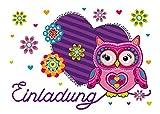 12 Einladungskarten Geburtstag Kinder Eule Herz für Mädchen Einladungen Kindergeburtstag Geburtstagseinladungen Set Partyset Kartenset Party (12 Karten)