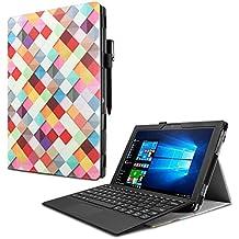 Lenovo Miix 510 Funda Case, Infiland Folio PU Cuero Cascara Delgada con Soporte para Lenovo Miix 510 Windows 10 Convertible Laptop Tablet, Cuadrados Colorido