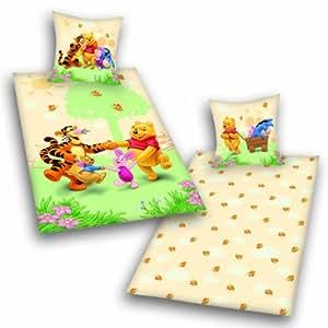 """Herding 462380050 Parure de lit en flanelle """"Winnie l'Ourson"""" Taie d'oreiller 80 x 80 cm + housse de couette 135 x 200 cm"""