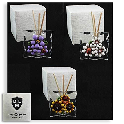 Dlm-29609 (kit 12 pezzi) diffusore profumatore in vetro con margherita fiore girasole per ambienti profumo battesimo matrimonio comunione bomboniera