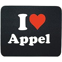 """EXCLUSIVO: Tapete de ratón """"I Love Appel"""" en Negro, una gran idea para un regalo para sus socios, colegas y muchos más!- regalo de Pascua, Pascua, ratón, Palmrest, antideslizante, juegos de jugador, cojín, Windows, Mac OS, Linux, ordenador, portátil, PC, oficina, tableta, Amo Made in GERMANY."""