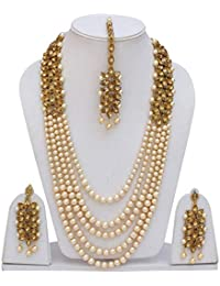 Catalyst Traditional Kundan Necklace Set White Pearl Multi Layer Designer Gold Plated Necklace,Maang Tikka With...