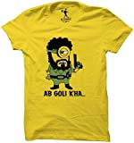 Be Awara Ab Goli Kha Round Neck T-Shirt (Yellow, Large)
