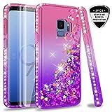 LeYi Hülle Galaxy S9 Glitzer Handyhülle mit Full Cover 3D PET Schutzfolie(2 Stück),Diamond Rhinestone Bumper Schutzhülle für Case Samsung Galaxy S9 Handy Hüllen ZX Gradient Pink Purple