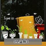 Pflanze blume fensteraufkleber,Fensteraufkleber t shop tür aufkleber dekoration glas wand aufkleber pastorale pflanzen töpfe fußleiste gitter-E