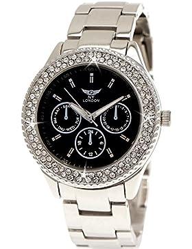 Ny London Damen-Uhr Strass Analog Quarz Armband-Uhr in Silber Schwarz Chronograph Optik
