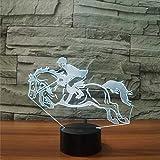 Shuyinju Cooles Reiten Pferd 3D Nachtlicht Instrumente Lampe 7 Farben Led Usb 3D Illusion Lampe Für Wohnkultur Für Kinder Spielzeug Geschenk