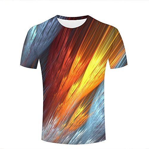 Herren Fashion T Shirt 3D Print Feathers Magical Abstract Peculiar Unisex Couple Short Sleeve Tees Top L (Tee Print Abstract)