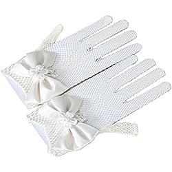 Tinksky Las muchachas flor guantes guantes de encaje blanco de novia para boda