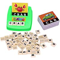 100 Pcs DIY Kids English Literacy Wood Puzzle Box Educational Alphabet Letters Puzzles Jigsaws For Childrens Baby English Letters Literacy & Spelling Match Cards Toy IQ Brain Teaser Mumustar