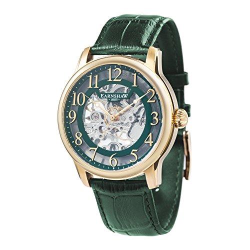 Thomas Earnshaw Longitude ES-8062-06 Montre mécanique pour homme Avec cadran vert à mécanisme apparent et bracelet en cuir vert