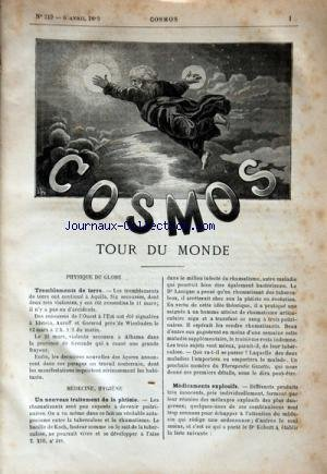 COSMOS [No 219] du 06/04/1889 - TOUR DU MONDE - TREMBLEMENTS DE TERRE - UN NOUVEAU TRAITEMENT DE LA PHTISIE - MEDICAMENTS EXPLOSIFS - BATEAU PORTE-VANNES SYSTEME APJOHN