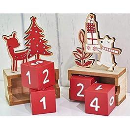Valery Madelyn Wood Calendario dell'avvento Calendario Natalizio Decorazioni Natalizie Conto alla rovescia per Il Tema della Foresta Natalizia Imballaggio Multiway Bianco