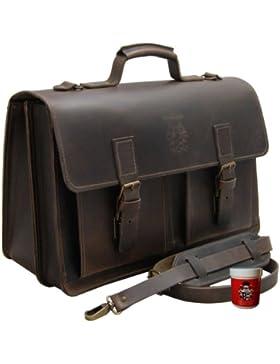 FREIHERR von MALTZAHN 17,3 Zoll Laptoptasche Aktentasche NEWTON aus Bio Leder inkl. Lederpflege