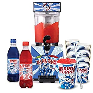 Slush Puppie with Two Syrups and Two Cup Packs With Straws Bundle