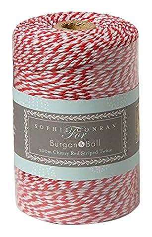Burgon & Ball Rouleau de ficelle rouge et blanche pour pâtisserie, jardin ou emballage cadeau 200m