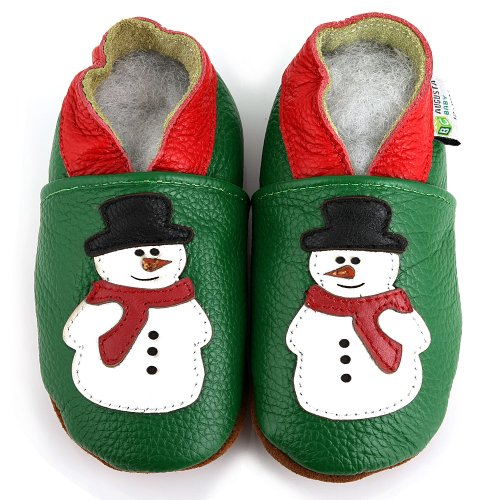 AUGUSTA BABY Baby Boys Girls First Walker Soft Sole Leather Baby Shoes - Genuine Leather Snowman green