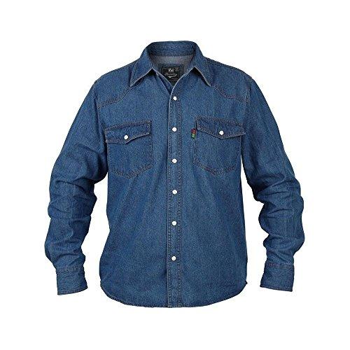 Duke ks1023jeans western della camicia blu in taglie forti blau - blue stonewash medium