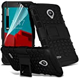 Spyrox ( Black ) Vodafone Smart Prime 6 Hülle Abdeckung Cover Case schutzhülle Tasche Stylish Fitted Tough Survivor Fest Rugged Shock Proof Heavy Duty Case W / Back-Stand, LCD-Display Schutzfolie, Poliertuch und Mini-versenkbaren Stift
