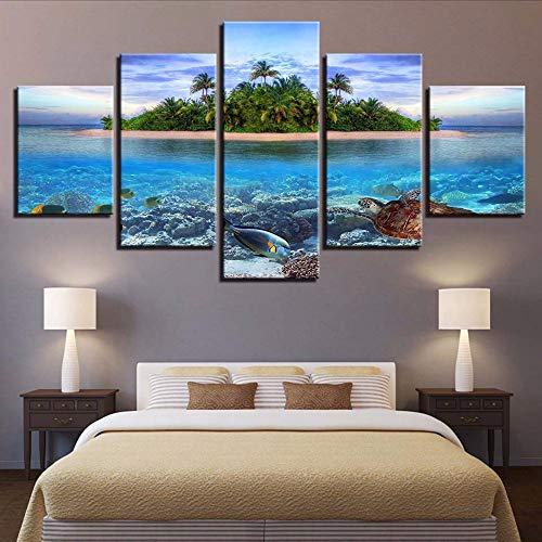 HD Drucke Dekoration Nacht Hintergrund 5 Stücke Wandkunst Leinwand Malerei Meeresschildkröten Modulare Insel Bild Kunstwerk Poster-200x100cm - Küche Kiefer, Küche Insel