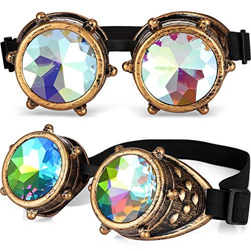 Kostüm Kaleidoskop - 2 Paar Kaleidoskop Steampunk Gläser Brille Steampunk Brillen Steampunk Rave Brille mit Regenbogen Kristall Glaslinse (Rund Design)