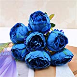 TAOtTAO 1 Blumenstrauß Vintage Künstliche Pfingstrose Seidenblumen Bouquet für Dekoration (Blau)