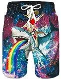 Loveternal Shorts de Plein Homme Hawai Beach Shorts 3D Galaxie Imprimé Shorts de...