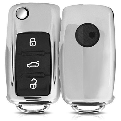 Hülle für VW Skoda Seat 2-3-Tasten Autoschlüssel - kwmobile TPU Schlüssel Schutzhülle in Hochglanz Silber - Etui Schlüsselhülle Cover Auto Zündschlüssel