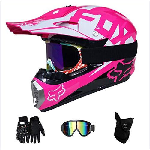 Tangzhi Erwachsener Motocross Helm MX Motorrad Helm Roller ATV Helm Road Race D.O.T Zertifiziert Rosa Mit Handschuhen Winddichte Maske Goggle (4-teiliges Set) (Color : M) -