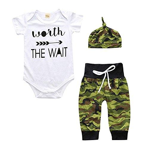 Baby Kleidung Romper Baby Neugeborene Kind Uniform 3pcs T-shirt + Hose + Hut Set (Größe 70cm (Uniform Baby)