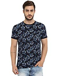 Mufti Men's Floral Slim fit T-Shirt (MFK-7033-H-05-NAVY-L_Navy_Large)