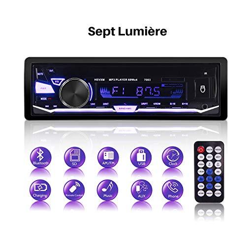 Radio de Voiture Stéréo, 1 Din Autoradio Bluetooth, 7 Couleurs Bluetooth autoradio, 4x60W Poste Radio avec LCD Microphone Intégré Soutient FM/AM/USB/SD/AUX/Télécommande