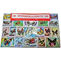 Worldwide Farfalle e Insetti Stamp Collection – 100 diversi timbri.