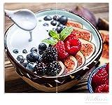 Wallario Herdabdeckplatte/Spritzschutz aus Glas, 2-teilig, 60x52cm, für Ceran- und Induktionsherde, Joghurt mit frischen Früchten