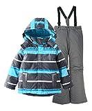 M2C Jungen Skianzug Skihose & Skijacke mit Kapuze Gestreift 134 Blau