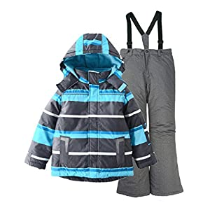 M2C Jungen Skianzug Skihose & Skijacke mit Kapuze Gestreift