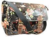 Lydc Milly Floral SS01015, Damen Messengerbag, Schwarz (Black), L