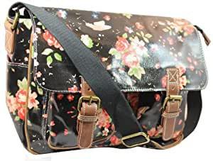 Lydc Women's Milly Floral Satchel Black SS01015 Large