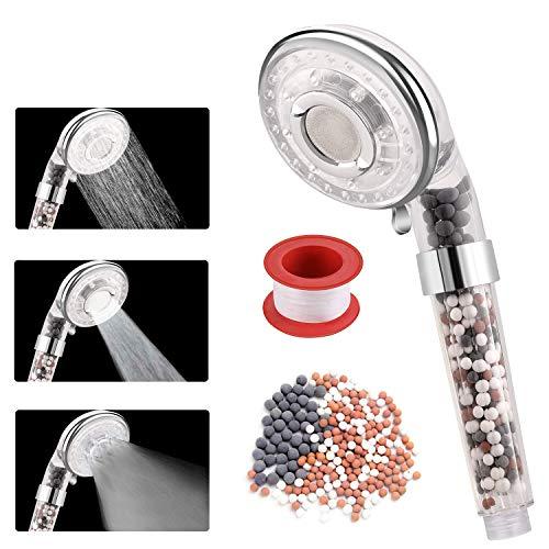 Rovtop Filtration Duschkopf Handbrause Hochdruck Wassersparend 3 Modi mit lonenfilter und Kalkfilter für Niederdruck einstellbarer Filter enthält zusätzlichen austauschbaren Stein