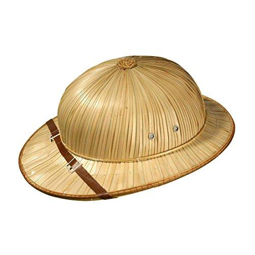 Kostüm Tropenhelm - Britischer Tropenhelm Safari Hut Entdecker Strohhut Abenteurer Kopfbedeckung Dschungel Basthut Urlaub Tropenhut